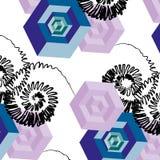 Abstrakte gezeichnete nahtlose Mustercollage des Vektors 3d Hand mit Würfeln Lizenzfreie Stockbilder
