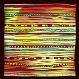 Abstrakte gezeichnetes ethnisches Muster der Weinlese des Vektors Hand Stockbild