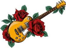 Abstrakte Gitarre der Illustration mit Rotrose Vektor lizenzfreie abbildung