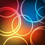 Abstrakte glänzende Neonkreise Lizenzfreies Stockfoto