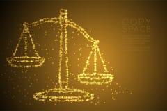 Abstrakte glänzende Sternchen-Vereinbarung stuft Unausgeglichenheitsform, Urteilkonzeptdesign-Goldfarbillustration ein stock abbildung
