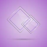 Abstrakte Glasplatte mit Kopienraum auf violettem Hintergrund Stockfotografie