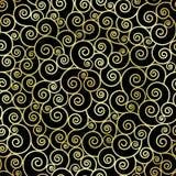 Abstrakte Goldfarbe wirbelt auf schwarzen Hintergrund Stockfoto