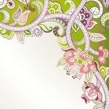 Abstrakte grüne Blumenecke lizenzfreie abbildung