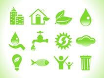 Abstrakte grüne eco Ikonen Stockbilder