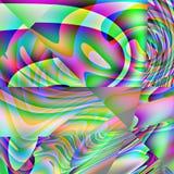 Abstrakte grüne, rosa, blaue, gelbe und orange Kurven Stockfoto