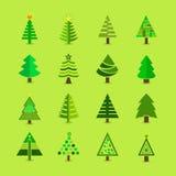 Abstrakte grüne Weihnachtsbaumikonen eingestellt Stockfotografie