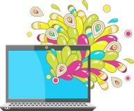Abstrakte Grafiken, die von einem Laptop herauskommen Lizenzfreie Stockbilder
