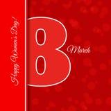 Abstrakte Grußkarten-Schablone internationales Frauen ` des Rotes am 8. März lizenzfreies stockfoto