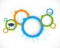 Abstrakte grunge Kreise Scheren und Bleistifte auf dem Hintergrund des Kraftpapiers Lizenzfreie Stockfotografie