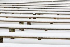 Abstrakte hölzerne Linien und Beschaffenheiten im Winter Stockfoto