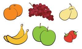 Abstrakte Hand gezeichnete Früchte auf weißem Hintergrund Stockfoto