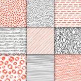 Abstrakte Hand gezeichnete geometrische einfache minimalistic nahtlose Muster eingestellt Tupfen, Streifen, Wellen, gelegentliche Lizenzfreie Stockfotografie