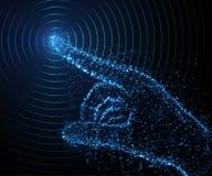 Abstrakte Hand von den hellen Partikeln, Arm 3D Auch im corel abgehobenen Betrag Stockbild
