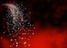 Abstrakte helle und funkelnde Sternschnuppen-Endstück-Schablone Stockfoto