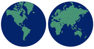 Abstrakte Hemisphärenkarte der Welt mit grünen Punkten Stockbild