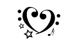Abstrakte Herzform Musik-Anmerkungs-Tätowierung stockbild