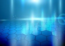 Abstrakte Hexagone auf Hintergrund mit Lichtern Lizenzfreie Stockfotografie