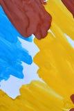 abstrakte Hintergrundbürste streicht Weißbuch der gelben, braunen, blauen Tinte Lizenzfreie Stockbilder