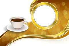 Abstrakte HintergrundKaffeetasse-Braungoldbandkreis-Rahmenillustration Stockbild