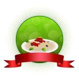 Abstrakte Hintergrundlebensmittelteigwarenspaghettis weiße Kreisrahmen-Bandillustration Italiens grüne rote gelbe Lizenzfreie Stockfotos