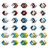 Abstrakte Ikonen des Quadrats 3D Stockbild