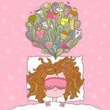 Abstrakte Illustration über Mädchenträume und -wünsche Stockbilder