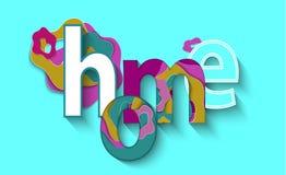 Abstrakte Illustration 3d mit buntem Aufschrift-Haus auf blauem Hintergrund Papier überlagert Kunst Wort, Text, Beschriftung, Tit Stockbilder