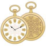 Abstrakte Illustration der runden Taschenuhr der Weinlese Frau mit Feder auf Weiß Männer ` s goldene Uhrmode Geschäft Isolat auf  stockbild
