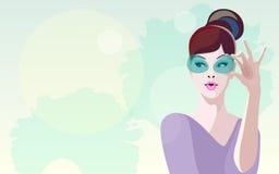Abstrakte Illustration des denkenden Mädchens im purpurroten Kleid Stockfotos