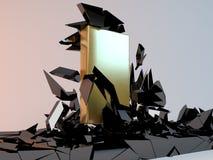 Abstrakte Illustration des festen goldenen Blockes, der durch bricht Lizenzfreie Stockfotos