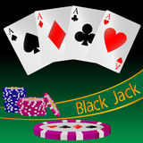 Abstrakte Illustration des Kartenspiels Black Jack Stockfotografie