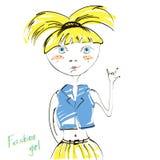 Abstrakte Illustration des modernen blonden Mädchens. lizenzfreie abbildung