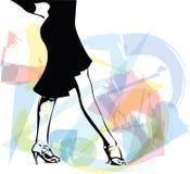 Abstrakte Illustration von Latino-Tanzenfrauenbeinen Stockbild