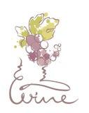 Abstrakte Illustration -- Weintraube im Weinglas vektor abbildung