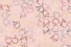 Abstrakte Illustrationen der Kaffeetasse, begrifflich Bruch, Form, Mokka u. Kunst stock abbildung