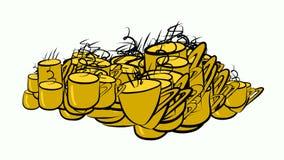 Abstrakte Illustrationen der Kaffeetasse, begrifflich Grafik, Muster, Farbe u. Mokka stock abbildung