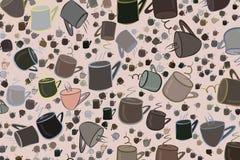 Abstrakte Illustrationen der Kaffeetasse, begrifflich Muster, kreativ, Art u. Karikatur vektor abbildung