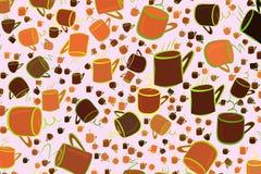 Abstrakte Illustrationen der Kaffeetasse, begrifflich Schablone, Segeltuch, Oberfläche u. Farbe stock abbildung