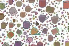 Abstrakte Illustrationen der Kaffeetasse, begrifflich Tapete, Satz, Linie u. Abdeckung lizenzfreie abbildung