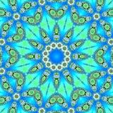 Abstrakte Illustrationssternmandala auf blauem Hintergrund Rundes dekoratives Arabeskenmuster stock abbildung