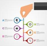 Abstrakte infographics Designschablone mit den menschlichen Händen, welche die Rundenblöcke halten Stockfotos