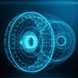Abstrakte Jet Engine, abstrakte polygonale bestehende blaue Punkte und Linien Jet Engine auf blauem Tönung Hintergrund, 3D Stockfotos