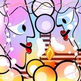 Abstrakte Köpfe und Kerze Bunte Version Stockfotografie