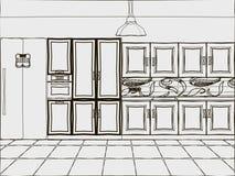 Abstrakte Küche Stockbild