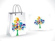 Abstrakte künstlerische bunte Baumeinkaufstasche Lizenzfreies Stockbild