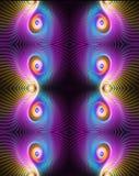 Abstrakte künstlerische computererzeugte schöne mehrfarbige elegante dazwischenliegende curvy optische Grafik des Fractal 3d vektor abbildung