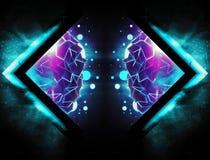 Abstrakte künstlerische computererzeugte Wiedergabeillustration 3d einer modernen Digital-Grafik auf einem drastischen bunten Hin stock abbildung