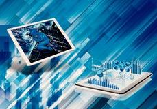Abstrakte künstlerische Illustration 3d eines Schlafenkünstliche Intelligenz-Roboters zeigte auf einem Tablet in einem Digital-Hi stock abbildung