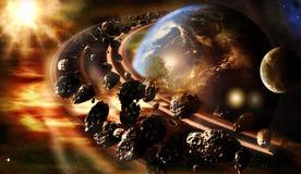 Abstrakte künstlerische Illustration der Wiedergabe-3d von Planeten-Erde mit einem glühenden drehenden Asteroidengürtel lizenzfreie stockbilder